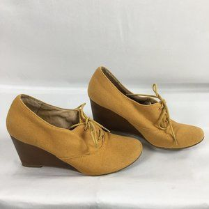 Chelsea Crew Mustard Yellow Wedge Canvas Oxfords